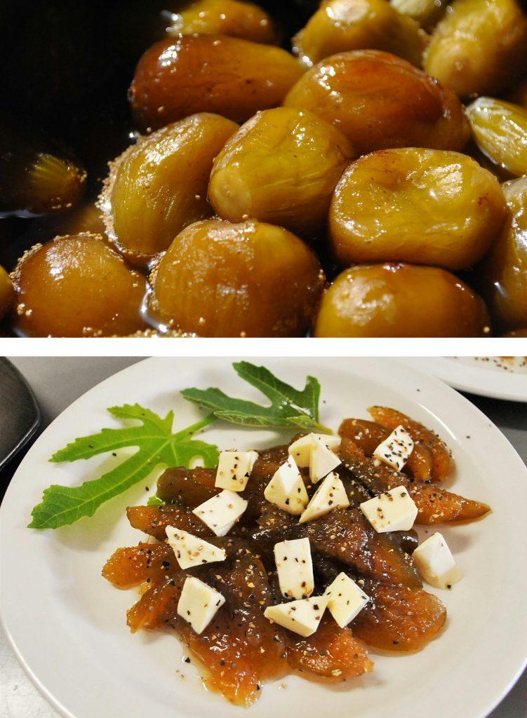 上:つゆに浸っているいちじく甘露煮/下:細かく切ったいちじく甘露煮とチーズを和え黒コショウをふったアレンジレシピ
