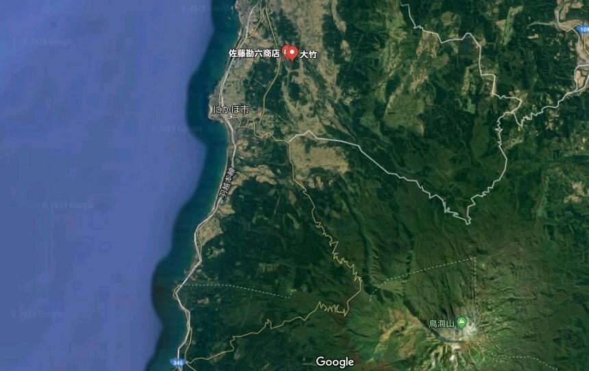 大竹集落と鳥海山周辺の航空写真